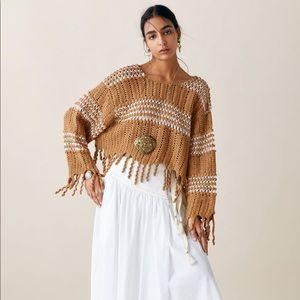 Zara Studio Texture Fringe Sweater